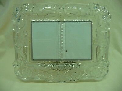 """Embossed Frosted Glass Horizontal Picture Frame Holds 2 Vert 3"""" x 4 1/4"""" Photos"""