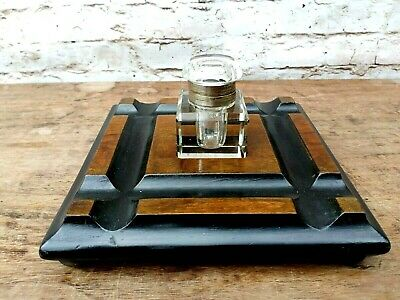 Antique 19th century Victorian walnut and ebonised ink well and pen tray