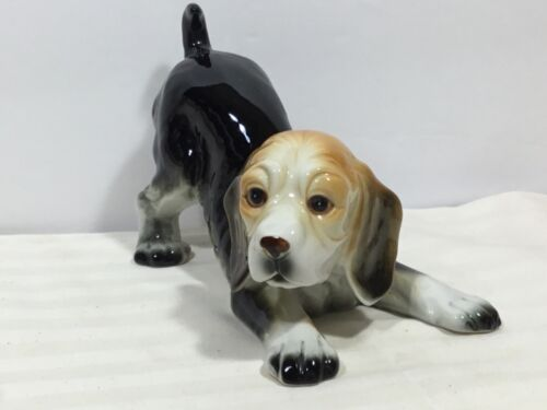 Vintage Beagle Puppy Ceramic Figurine Hound Dog Crouching Mid Century Decor