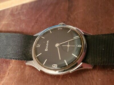 Vintage mens black dial 1960 bulova watch
