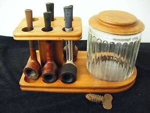 Vintage Walnut Wood Smoking Tobacco 6 Pipe Stand Holder & pipes Upper Ferntree Gully Knox Area Preview