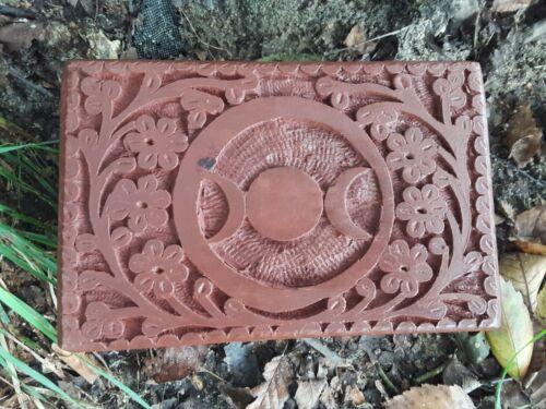 Triple Moon Goddess Mango Wood Carved Box