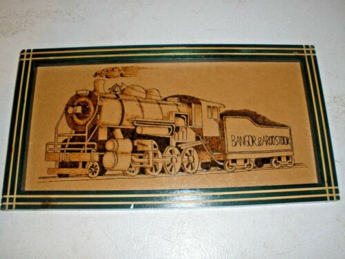 "Hand Crafted in Maine Prison Bangor & Aroostook Train Engine Picture 7"" x 13"""