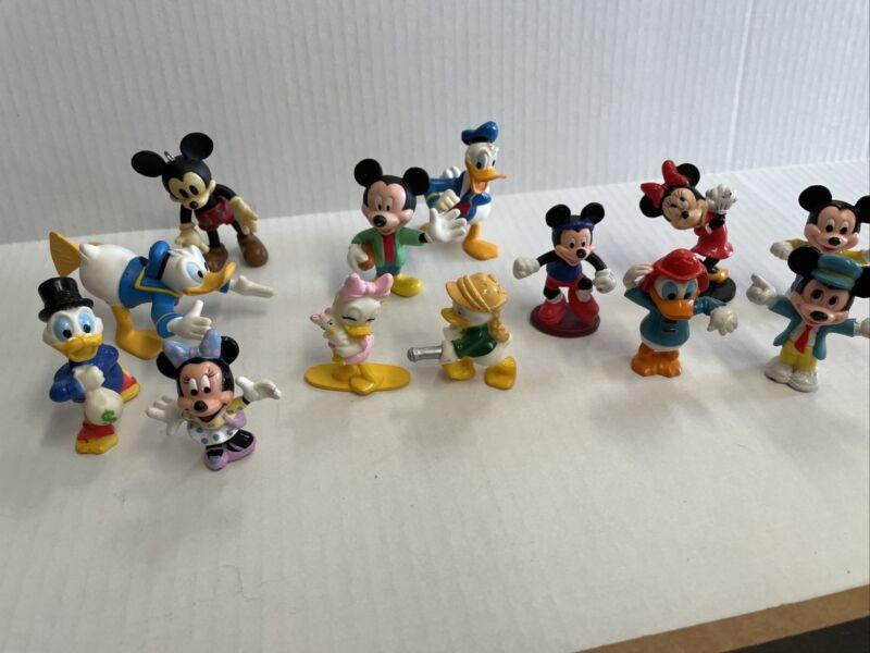Vintage Disney PVC Mini Figure Miniatures - Lot Of 13 Mickey Minnie Donald Daisy