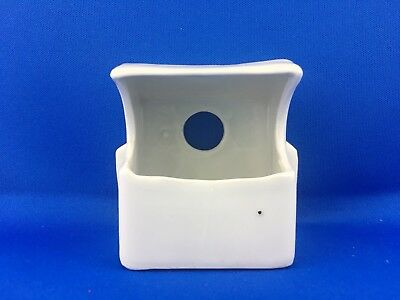 Vintage White Milk Glass Bird Cage Feeder Seed Water Cup Square 1398