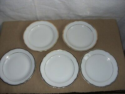 5 x Kahla (made in GDR) bone china tea plates white with gold trim 17 cm across