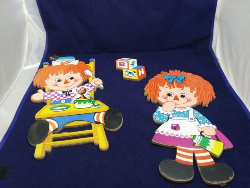 Vintage Raggedy Ann & Andy Wall Plaques - Cardboard Cut Outs - Bobs Merrill 1972