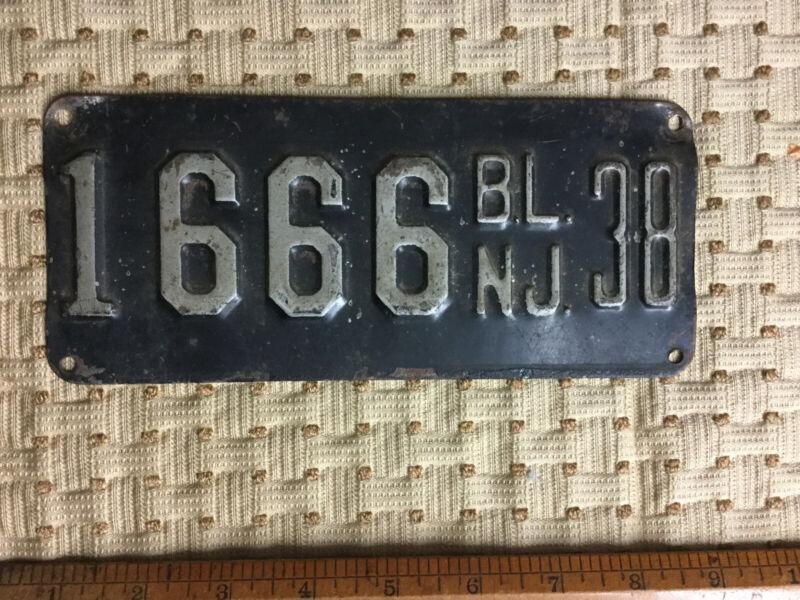 Vintage 1938 New Jersey Boat License Plate #1666 Motorboat Sailboat Rare Number!