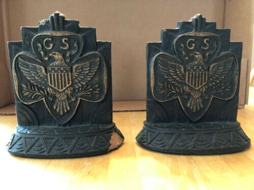 """Vintage 1937 Pair of Girl Scout American Bald Eagle Book Ends 5.5"""" tall"""