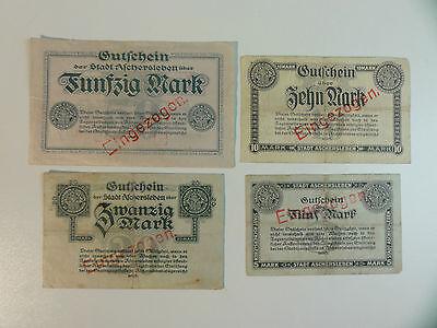 NOTGELD  Aschersleben  5, 10 , 20+50 Mark, 4 different     Nr.525