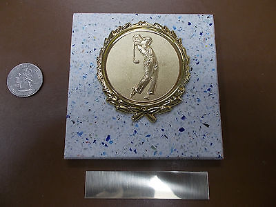 - GOLF MEN's - New Plaque Title AWARD - GIFT w/ Gold Wreath + Insert FAST SHIP