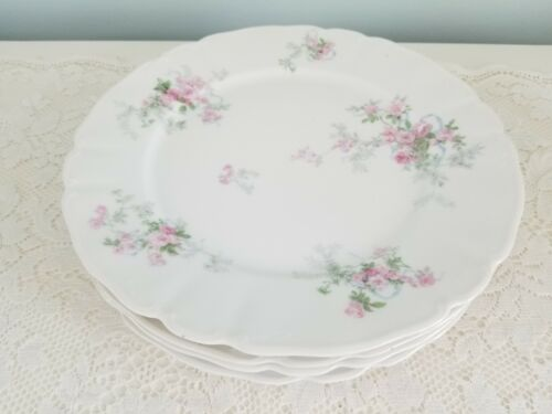 Wm. Guerin Limoges France Pink Roses Dinner Plates Set of Four