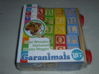 NEW SEALED GARANIMALS 20 PC WOODEN ALPHABET BLOCKS WAGON 18 MO + ABC 123 LETTER