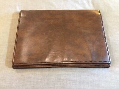Vintage ELDEC Brown Leather For Documents Files Carry Case