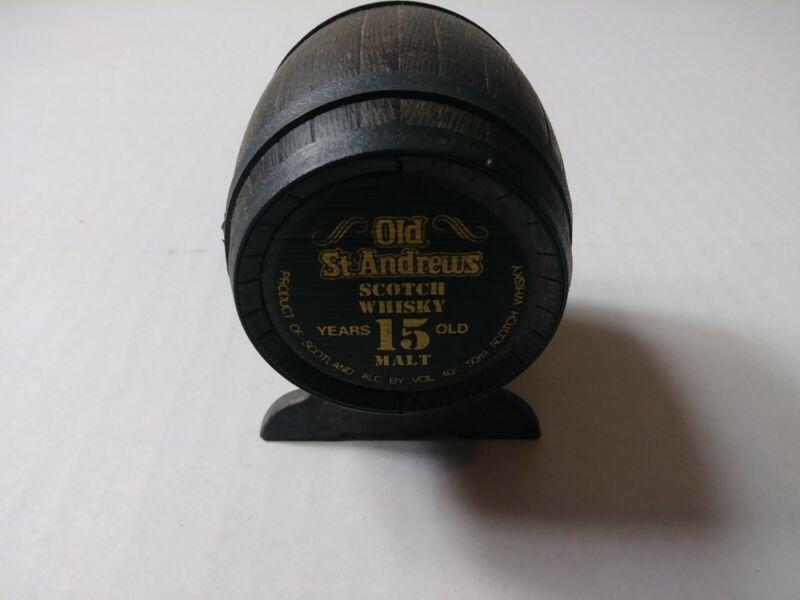 EMPTY Vintage Old St Andrews Scotch Whisky Mini Miniature Bottle Barrel