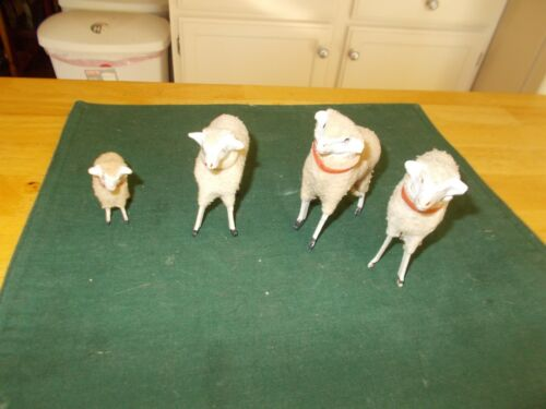 LATE 1800S EARLY 1900S MADE IN GERMANY PAPIER MACHE/WOOD SET OF 4 SHEEP W/COMPO