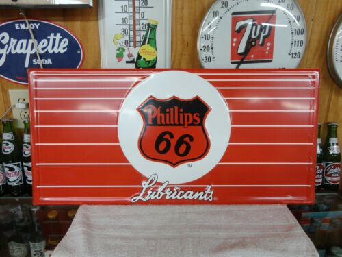 PHILLIPS 66 LUBRICANTS METAL EMBOSSED SIGN USA MADE LICENSED