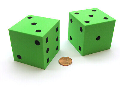 Large Foam Dice (Pack of 2 Jumbo Large 50mm (2 Inches) Foam Dice - Green with Black)