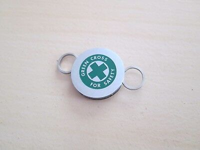Green Cross for Safety Metal Keyring - Cross Key Chains