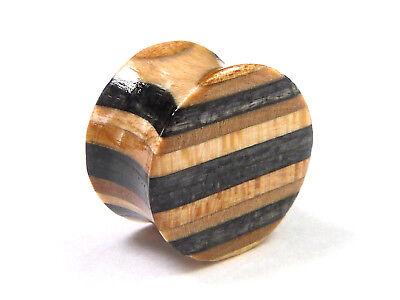 RECYCLED SKATEBOARD Wooden Ear Plug Wood Flesh Tunnel Gauge Lobe Cool Stretcher