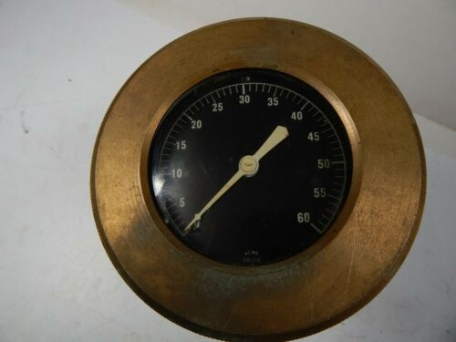 vintage ACME large PRESSURE GAUGE Gage Heavy Bronze from a SHIP Steam Punk