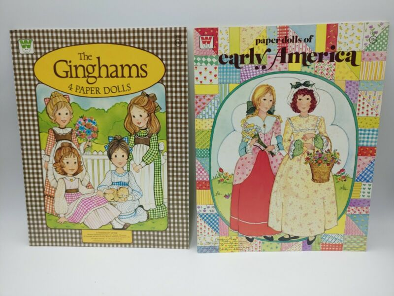 Lot 2 Vintage Whitman Paper Dolls Books The Ginghams Early America USA Complete