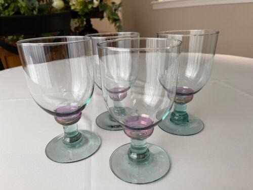 """Four (4) Art Glass Water Goblets Iridescent Purple Ball Green Stems 6 1/4"""""""