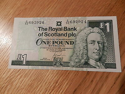 RBS ROYAL BANK OF SCOTLAND MINT CONDITION SCOTTISH ONE POUND £1 NOTE