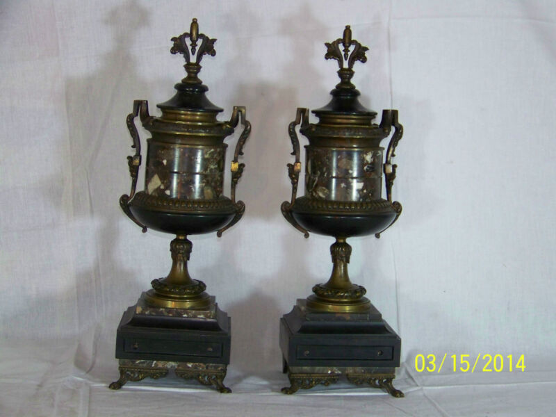 Pair of French Bronze Cassoulettes Carved Stone Lion Claws w/Lids