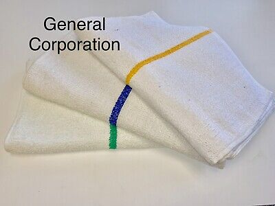 60 5 Dozen New Gold Striped Bar Towels Bar Mops Cotton Super Absorbent 16x19