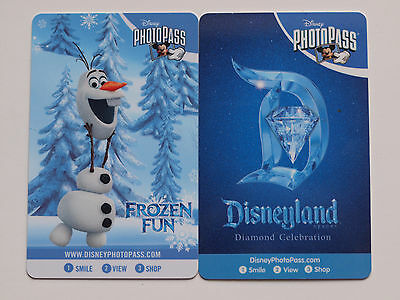 2 Different DISNEYLAND PhotoPass Cards 2015: Frozen & 60th Anniversary New Mint