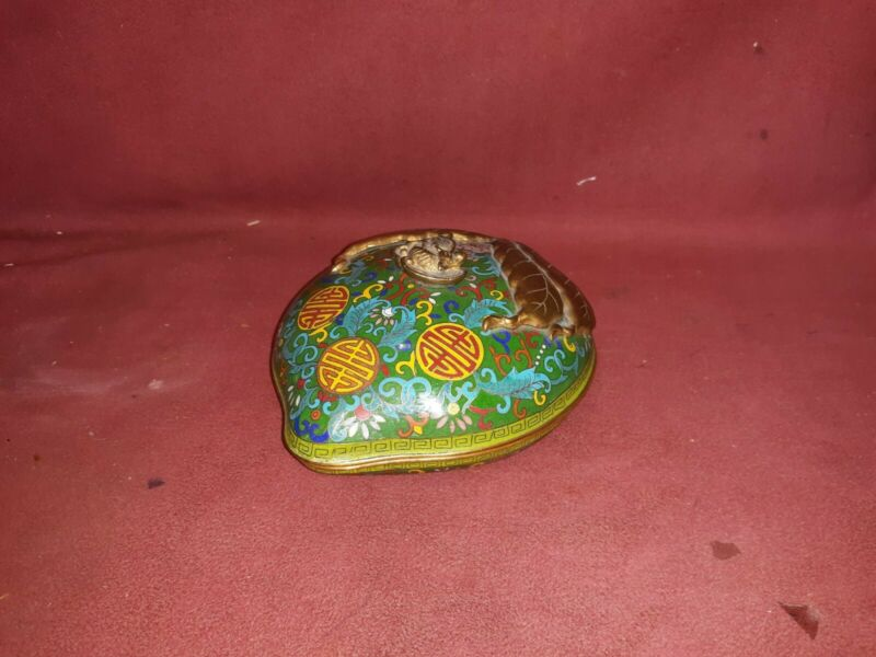 Chinese Antique Style Cloisonne Peach Form Box 20th century .