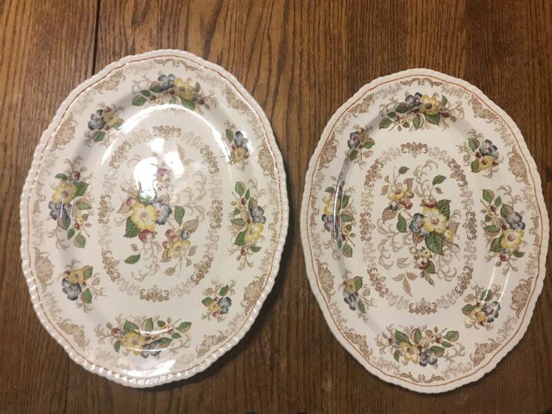 "Vintage Ridgeways England ""Apple Blossom"" Antique Serving Platter Lot Of 2"
