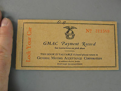 Gmac General Motors Acceptance Corporation Payment Record Book Vintage 1930S