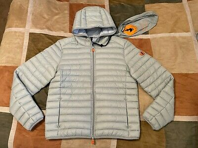 Save The Duck grey giga down ultralight puffer hooded jacket coat M mens NEW