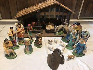 Large ceramic nativity scene.