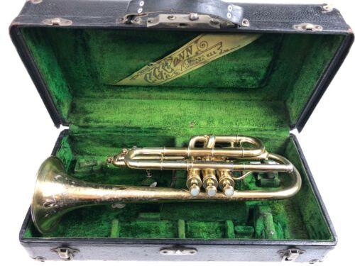 RARE Conn Cornet 1913 Gold Plated C G Conn New Invention Circus Bore Cornet