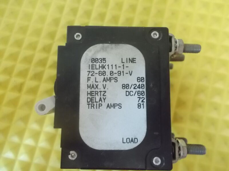 Airpax IELHK111-31931-1-72-60.0-91-V 60 Amp Triple Pole Circuit Breaker