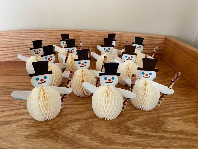 Set Of (12) Vintage CHRISTMAS Accordion Tissue Paper SNOWMEN Holiday Decoration