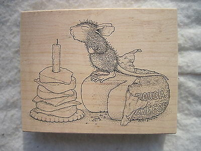 Stampa Rosa Rubber Stamp 240 - HOUSE MOUSE - A GOUDA BIRTHDAY