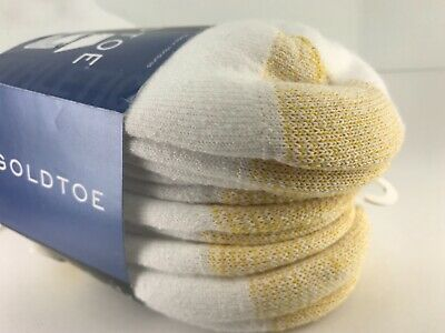 Men's Gold Toe White 76% COTTON Quarter Crew Socks - 6 Pack - $39