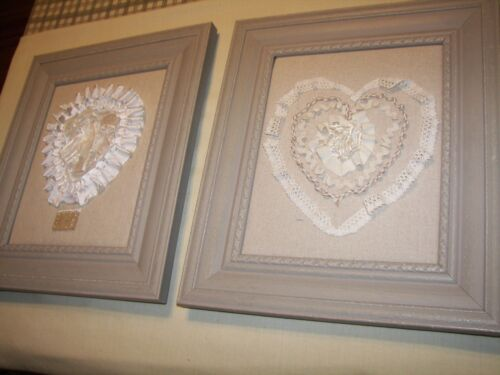 SHABBY CHIC HOME DECOR -  ELEGANT  LACE HEART WALL PLAQUES GREAT GREAT GIFT