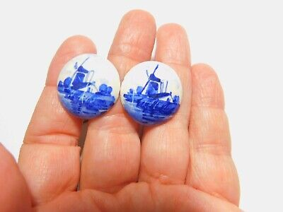 Signed Delft Blue White Porcelain Dutch Windmill Screw Back Earrings Vintage