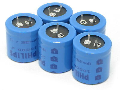 Philips Electrolytic Capacitor 10000uf 25v 5pcs
