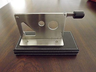 Stainless Steel Table Top 54 Ring Gauge Desktop Cigar Cutter Black Leather (Black Base Stainless Steel Top)