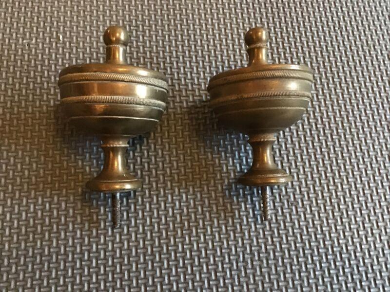 2 Vintage Clock Finials - Solid Brass