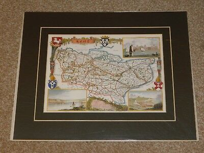 REPRODUCTION OF AN ANTIQUE KENT MAP, CARD MOUNTED