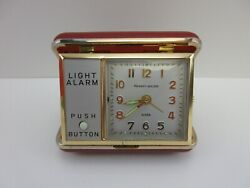 Vintage Phinney Walker Wind Up Travel Alarm Clock With Rare Red Case Light Alarm