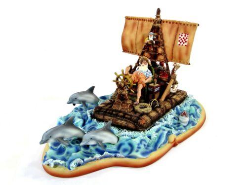 "Maruri S.S. WORLD TRAVELS 13"" Figurine Santa Raft Sail Dolphins LE SWT-9713"
