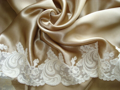 vintage french charmeuse silk trimmed with Calais lingerie lace - unused